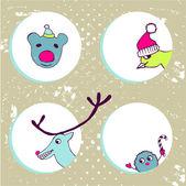 Funny Christmas animals — Stock Vector