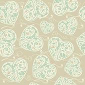 Merlettato seamless pattern con cuori stilizzati — Vettoriale Stock