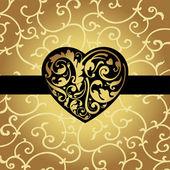 Elegancka karta kształt serca — Wektor stockowy