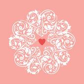 Circle heart ornament — Stock Vector