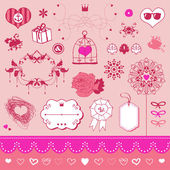 Lovely romantic set — Stock Vector