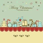 Retro Christmas and new year card — Stock Vector