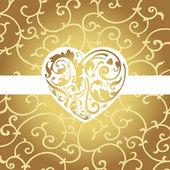 Elegant card with golden heart shape — Stock Vector