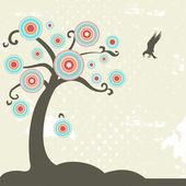 Fantasy tree with bird — Stock Vector