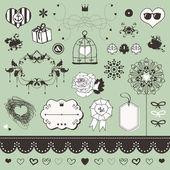 あなたのデザインの素敵なロマンチックなセット — ストックベクタ