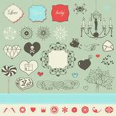 Lovely romantic set for Your design — Stock Vector