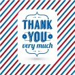 Thank you card on tricolor grunge background. — Stock Vector #32030885