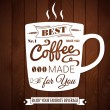 Vintage coffee poster on a dark wooden background. — Stock vektor