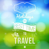 Summer holidays poster with blurry effect. — Stock Vector