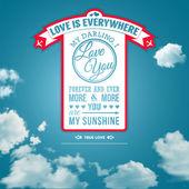 Poster yaz gökyüzü arka plan üzerinde retro tarzı seviyorum. — Stok Vektör