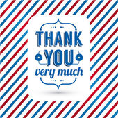 Thank you card on tricolor grunge background. — Stock Vector