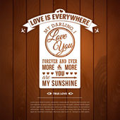 Love you poster in retro style on a wooden background. — Stock Vector