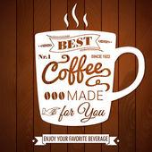 Affiches vintage café sur un fond en bois foncé. — Vecteur