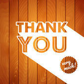 Thank you card with typography on a wooden background. — ストックベクタ