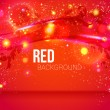 Red abstract background with leafs, glitter, waves. — Stock Vector