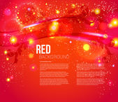 Red abstract background with leafs, glitter, waves, light effects. — Stock Vector