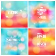 Set of soft blurry backgrounds with bokeh effect. — Stock Vector