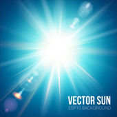 The bright sun shines on a blue sky background. Vector illustration with lens flare effect. — Stock Vector
