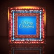 Merry Christmas card with frame made of lights. — Imagen vectorial