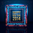 Happy New Year 2014 poster with frame made of lights.  — Stock Vector