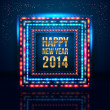 Happy New Year 2014 poster with frame made of lights. — Stockvektor