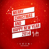 Merry Christmas and Happy New Year 2014 card. White ribbon, red background. — Stockvector