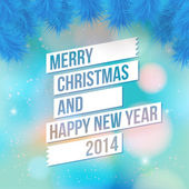 Merry Christmas and Happy new year card. Stylized fir branches on soft blurry background. — 图库矢量图片