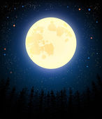 Full moon shines on a pine forest. Retro vector illustration. — Cтоковый вектор