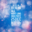 Christmas party poster. Blue shiny background. Vector image.  — Stock vektor