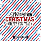 Merry Christmas and Happy new year card on a bright stripy background. Vector image. — Stock Vector