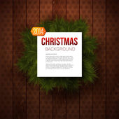 Merry Christmas paper note with place for Your text. Wooden panel and realistic fir. Use it for Your winter holidays design. — Stock Vector