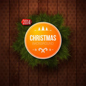 Bright Christmas label. Wooden panel and realistic fir. Use it for Your winter holidays design. — Stock Vector