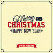 Vintage Merry Christmas and Happy New Year card. Lettering style. Vector illustration. — Stock Vector