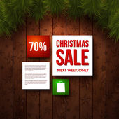 Christmas sale design template. Wooden background, realistic fir. Use it for Your winter holidays design. — Stock Vector