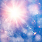 Shining sun with lens flare. Soft background with bokeh effect. — Stock Vector