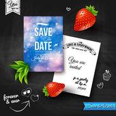 Wedding invitation on chalkboard — Stock Vector