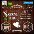 Wedding set on wooden background — Cтоковый вектор #47716301