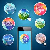 Hareket eden app için simge kümesi — Stok Vektör