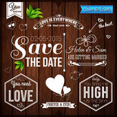 Wedding set on wooden background — Stock vektor