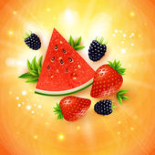 Abstract summer poster with watermelon, strawberry, blackberry a — Stock Vector