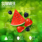 Poster with berries and leaves — Stock Vector