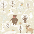Winter background with animals — Stock Photo