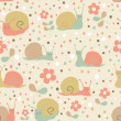 Stock Photo: Snail seamless pattern.