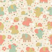 Elephant and snailseamless pattern. — Foto de Stock