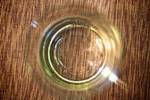 Top view of empty glass on linen napkin background — Stock Photo