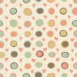Cartoon hearts and circles seamless pattern — 图库照片