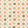 Cartoon hearts and circles seamless pattern — Stockfoto