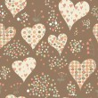 Stock Photo: Cartoon hearts and circles seamless pattern. Valentines day card