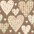 Cartoon hearts seamless pattern. Valentines day card design. — Stock Photo