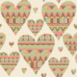 Cartoon hearts seamless pattern. Tribal style. Valentines day ca — Stock Photo
